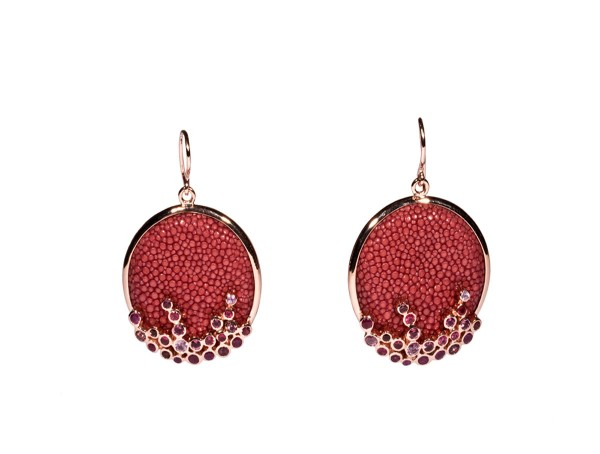 KAIA silver earrings with gemstones and stingray leather vieux rose @a-cuckoo-moment