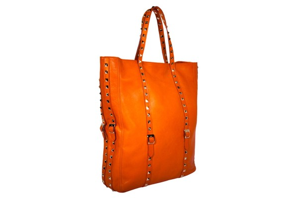 Cindy Shopperbag tangerine leather with golden studs @a-cuckoo-moment