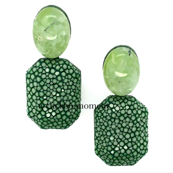 Grae - earrings made of stingray sapin green with prehnite @a-cuckoo-moment