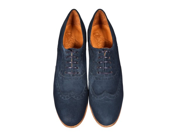 Jive - Lace-up Brogues Women handmade Shoes from premium suede leather, navy