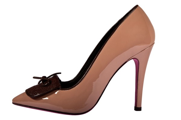 Rihanna - high heel made of patent leather and details of sparkling stingray leather in beige- brown