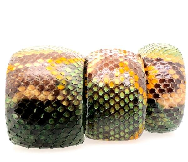 SAMBA Armreif aus handbemalter Pythonschlange green jungle flexibel @a-cuckoo-moment