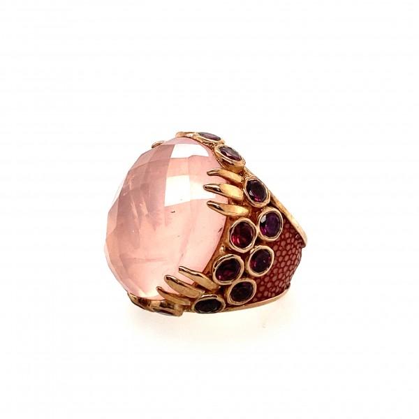 Margarita Ring with Rose Quartz and Rhodolite