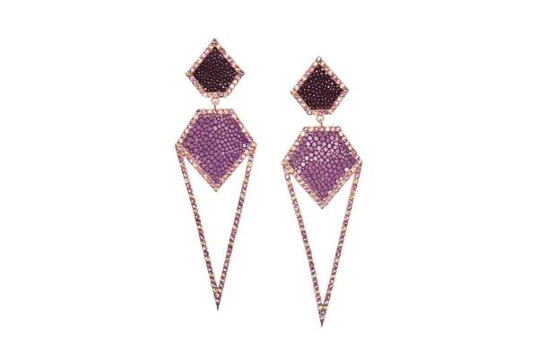 CARA Silber Ohrringe mit Amethysten und Rochenleder Purple und Lavendel