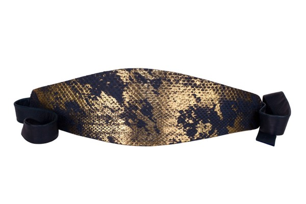 Anastasia - Python Leder Gürtel- golden night metallic