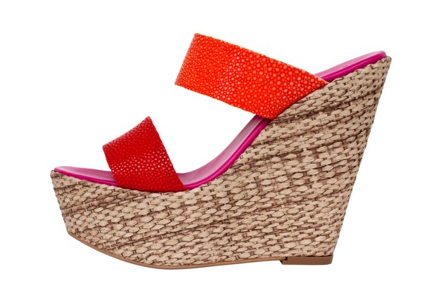 Luisa Wedges Sandals with stingray leather coral-tangerine