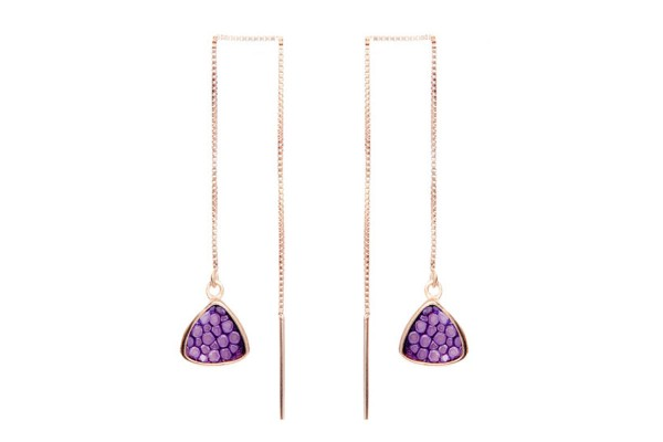 Nana - Silver earrings pink gold plated with stingray lavender