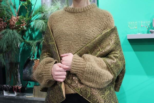 Reversible scarf one side luxury kiwi fabric - other side orange wool fabric