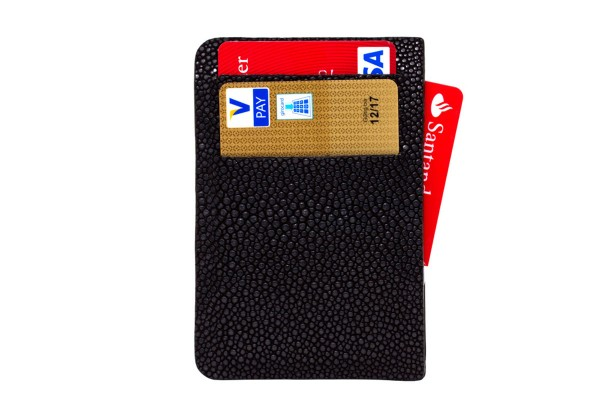 Card Holder stingray leather black