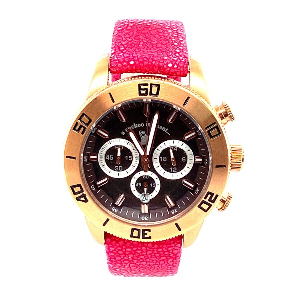 Chronograph watch made of pink gold plated steel with copper brown clock face Shagreen fuchsia a-cuckoo-moment