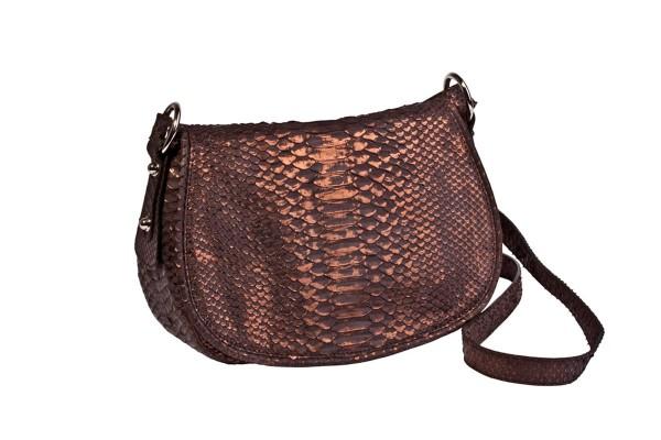 Alexa Sattel Tasche aus Nappa und handbemalter Python Schlange in brown-bronze metalic Schultertasch