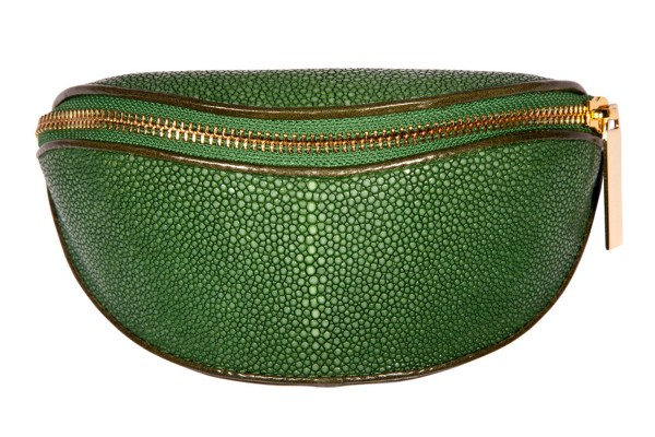 Case for glasses made of stingray leather sapin green