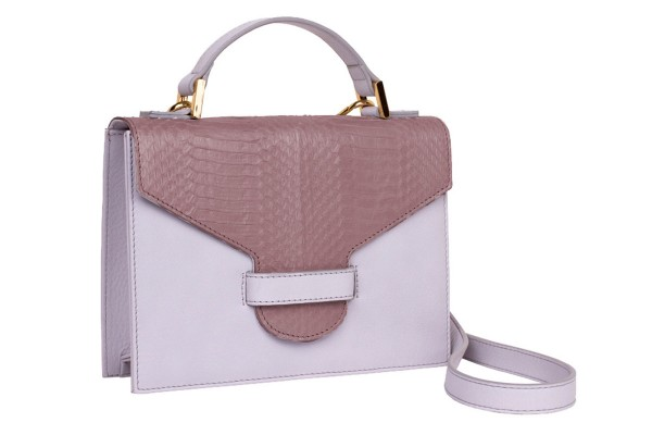 Suzy small cross body suitcase bag made of napa and snake leather mauve glossy