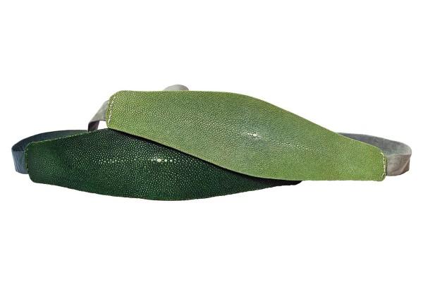 Anastasia - Rochenleder Gürtel in sapin green und celadon