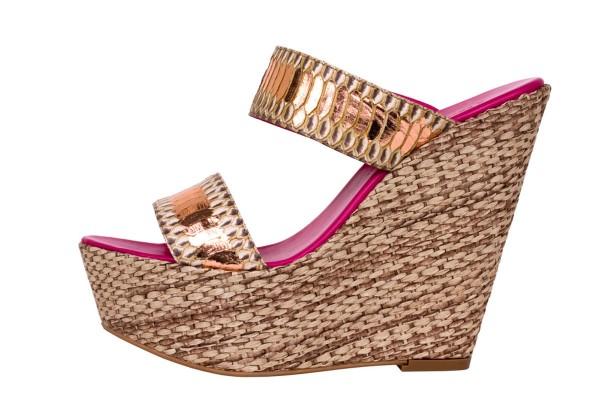 Wedge Sandale aus Schlangeleder in der Farbe desert-sunset