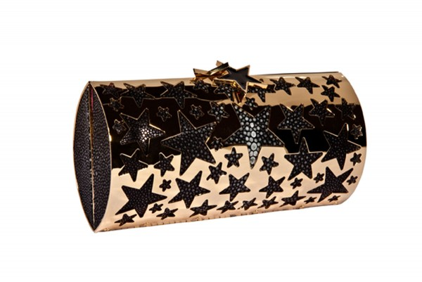 Estelle golden star clutch bag with black shagreen