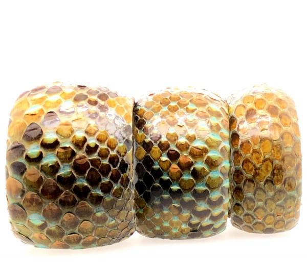 SAMBA Armreif aus handbemalter Pythonschlange Luxury mustard flexibel @a-cuckoo-moment