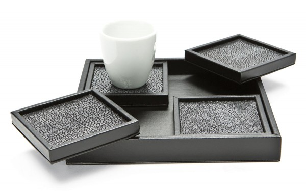 Coaster set covered with leather and stingray leather black/anthracite @a-cuckoo-moment