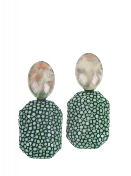 Grace - Ohrringe aus Rochenleder sapin grün mit Prehnit
