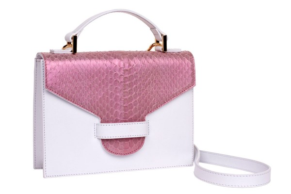 Suizy small cross body suitcase bag made of napa and snake in soft pink metallic