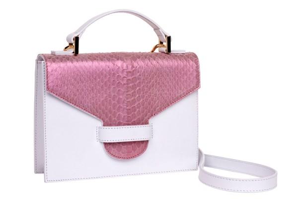 Suzy kleine cross body Tasche aus Napa und Schlangen Leder soft pink metalic