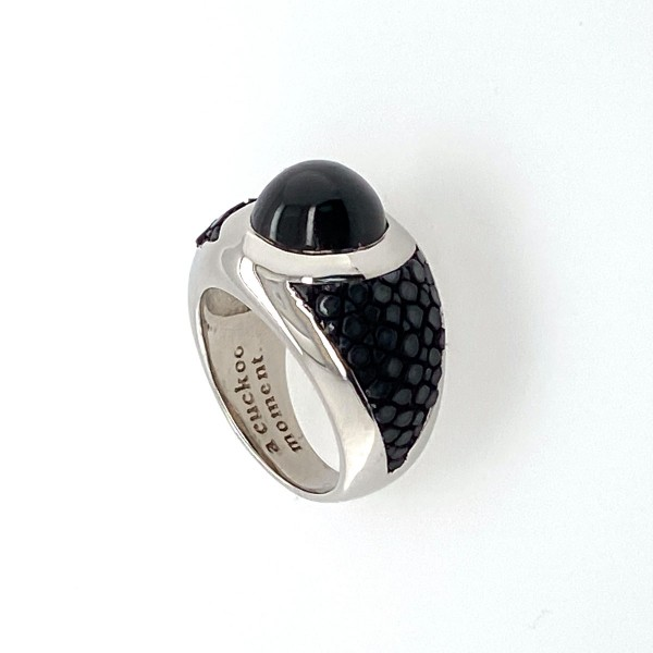 Sunrise - Sterling Silver ring pink gold plated with black star saphire and stingray leather many colors