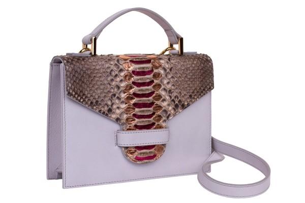 Suzy kleine cross body Koffer Tasche aus Nappa white und Python in Pink Brownie