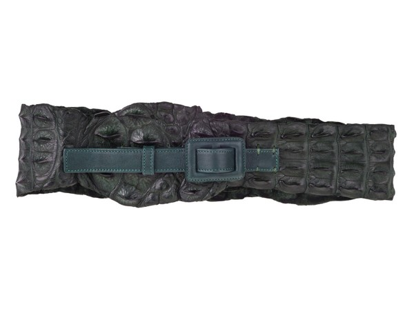 CLEO - belt made of crocodile leather back and tail color sapin green