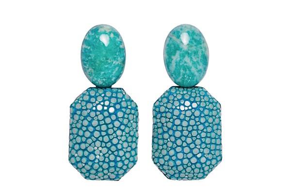 Grace - Ohrringe aus Rochenleder türkis und Amazonit