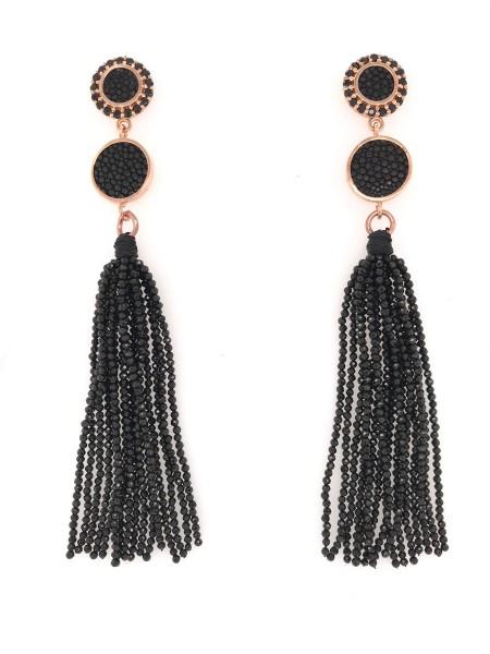 Leksi Tassel earrings sterling silver black spinell