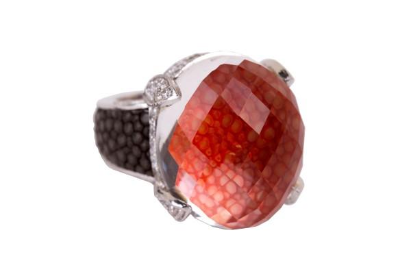 Manhattan Silber Ring mit Topas und Rochenleder tangerine und grey @a-cuckoo-moment