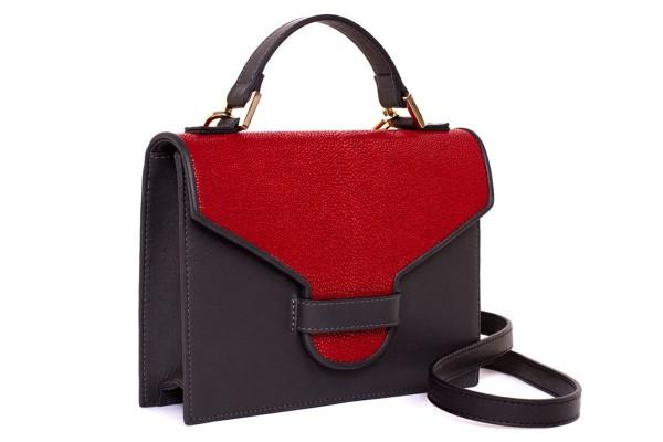 Suzy kleine cross body Tasche aus Napa und Rochenleder rot