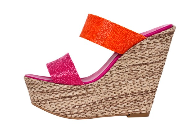 Luisa Wedges sandals with fuchsia-tangerine stingray leather