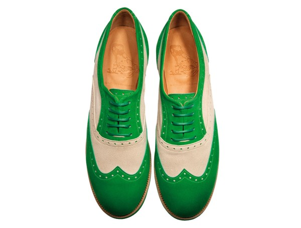 Jive - Lace-up Brogues Women handmade Shoes from premium suede leather, grasgreen-beige