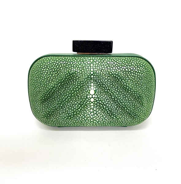Wanda Clutch in stingray leather sapin green with opener in blue sandstone @a-cuckoo-moment