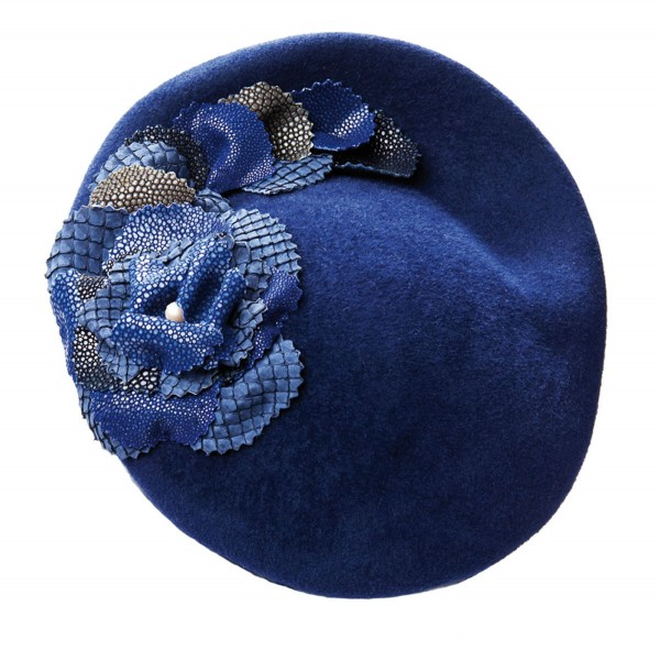 SALLY - Couture hat with flowers of ray leather and python blue @a-cuckoo-moment