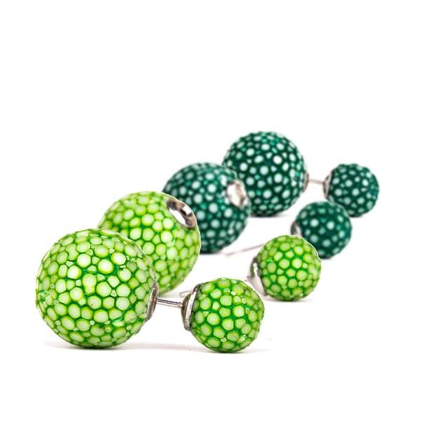 Beth - Kugel Ohrringe aus Rochenleder light und sapin green