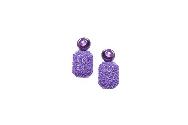 Gracy earrings with amethyst and stingray leather lavender