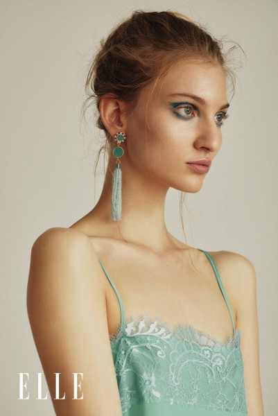 Marie Schmidt with LEKSI earrings made wih blue aquamarine tassels @a-cuckoo-moment
