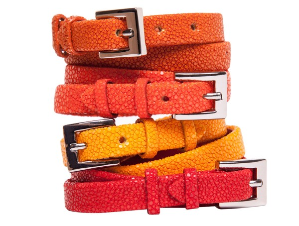 Bracelet DOUBLE SWING made of stingray leather canaries, tangerine, yellow, coral @a-cuckoo-moment