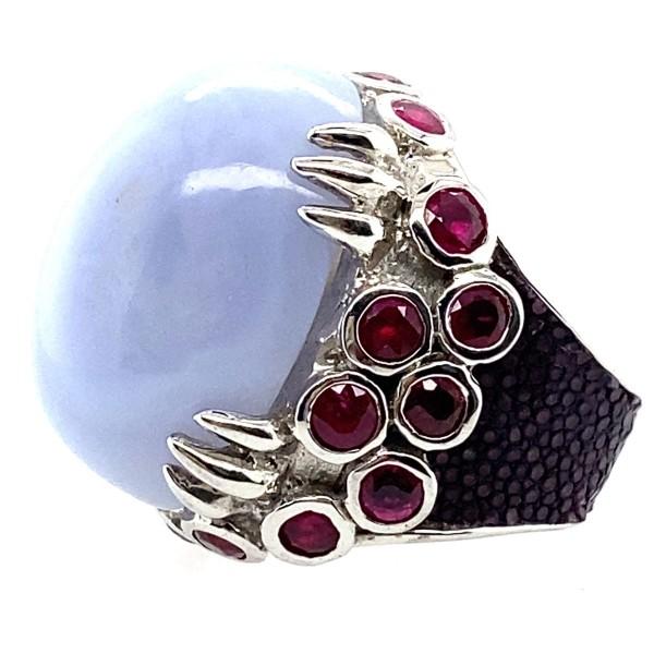 Margarita - Ring mit blauem Calzedon und Rochenleder @a-cuckoo-moment