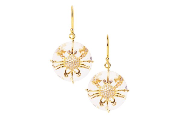 Crab earrings yellow gold plated with quartz a-cuckoo-moment