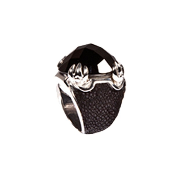 Daiquiri - ring Sterling Silver fascetted onyx stingray leather @a-cuckoo-moment...