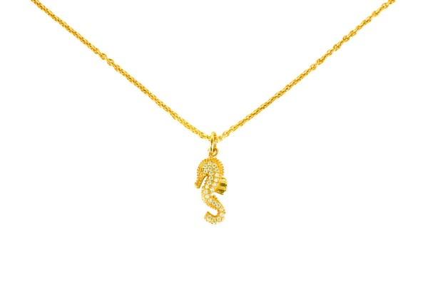 Seahorse necklace yellow gold-plated a-cuckoo-moment