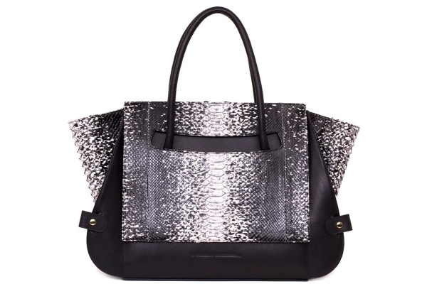 Leyla handle bag with python black/white 1 variation front @a-cuckoo-moment