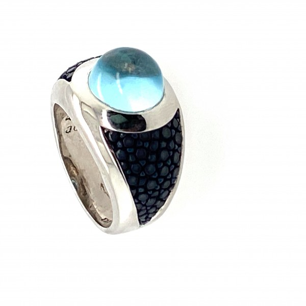 Sunrise - Sterling silver ring rhodium-plated with topaz blue and stingray leather in many colors