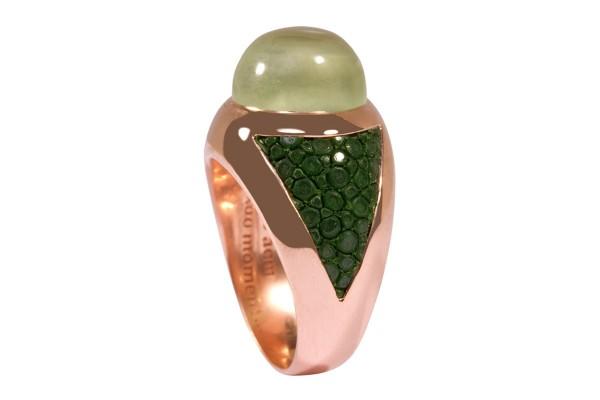 SUNRISE Silberring mit Prehnit und Rochenleder grün