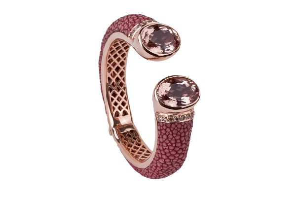 Bolero bracelet 18ct Gold with Morganites, Diamonds and stingray leather @a-cuckoo-moment