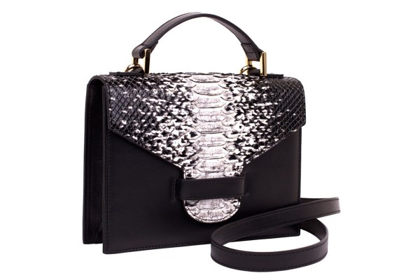 Suzy small cross body suitcase bag made of nappa leather black and handpainted python in black-white