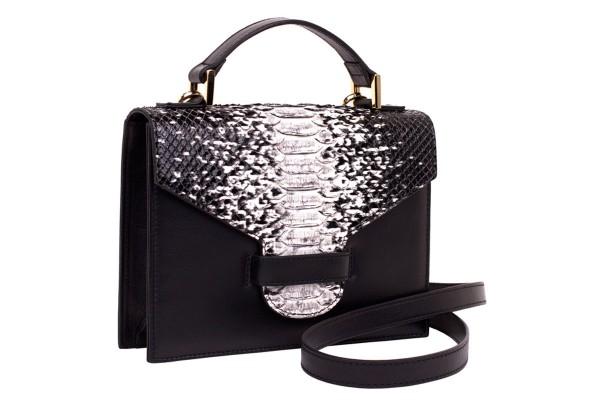 Suzy kleine cross body Koffer Tasche aus Nappa black und Python black-white